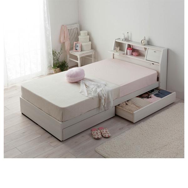 収納ベッド(ダブル・ポケットコイルマットレス付) Bホワイトの写真