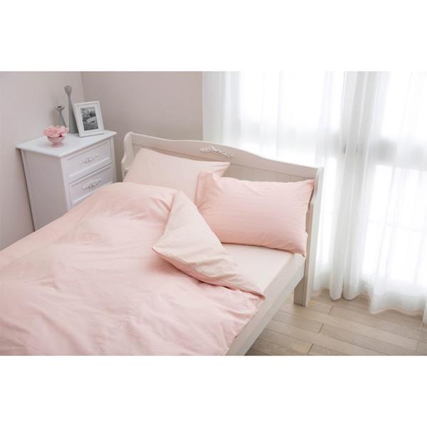 日本製綿100%布団カバー(敷布団カバー・シングル) ピンク 敷・Sの写真
