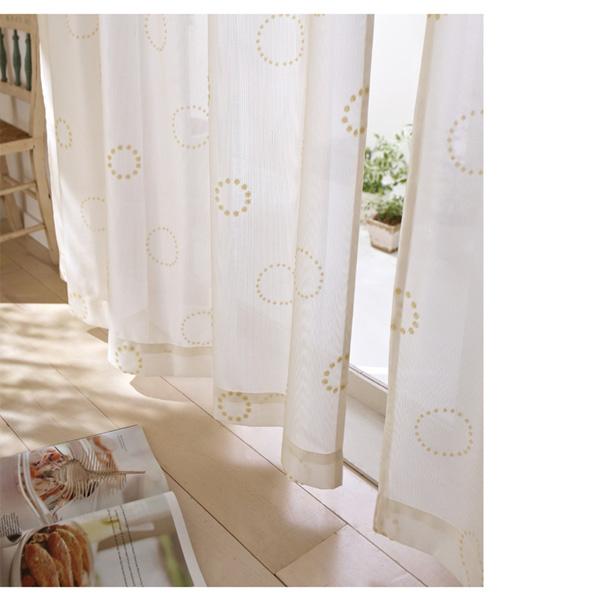 パイルレースカーテン(100x133・2枚組) クリームの写真