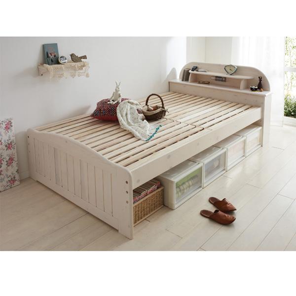 天然木ライト付すのこベッド(セミダブル・本体のみ) ライトブラウンの写真