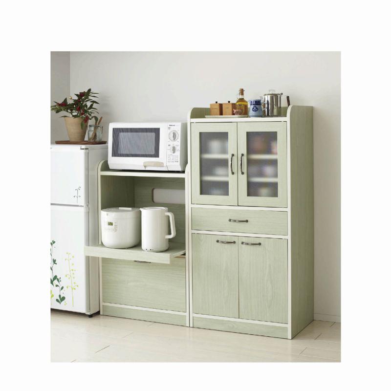 ミニ食器棚(A・ミニレンジ台) ホワイト Aの写真