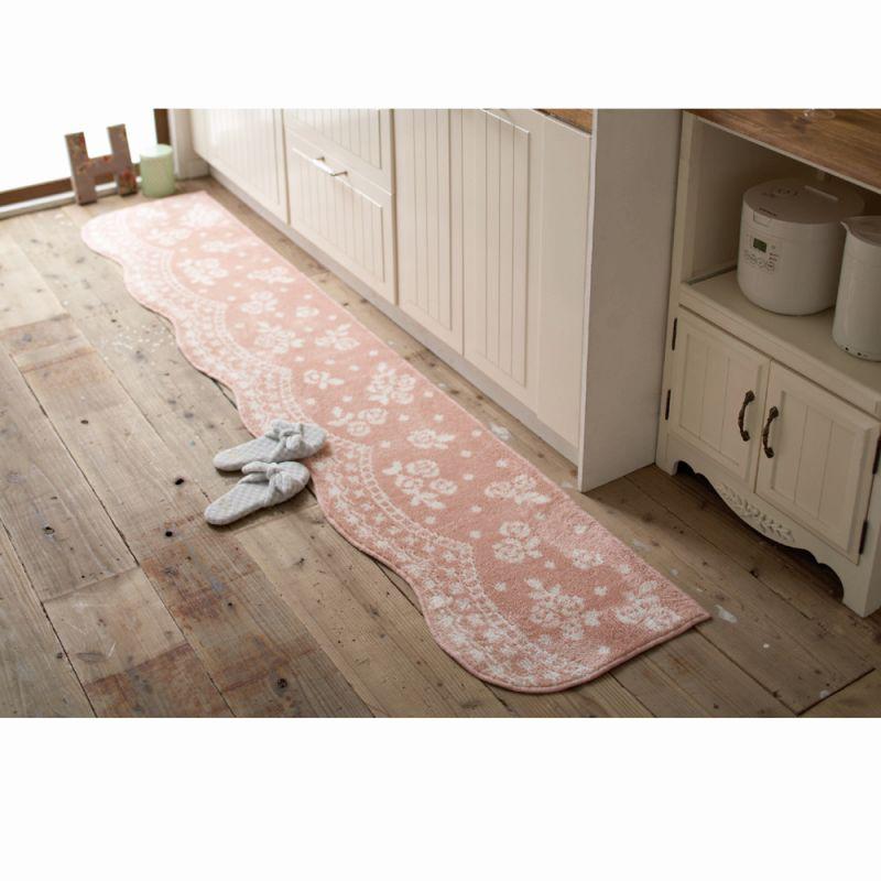 キッチンマット(45x180) ピンクの写真