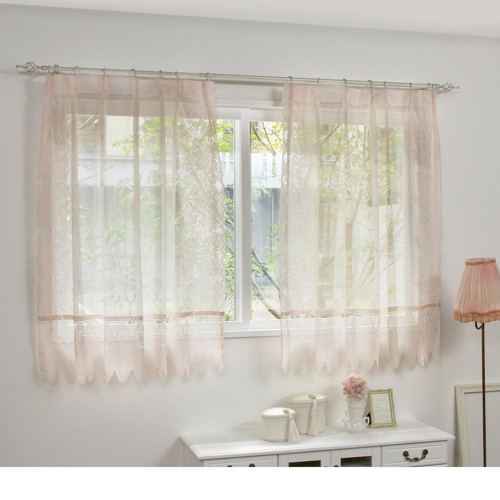 クラシカルレースカーテン(100x133・2枚組) ピンクの小イメージ