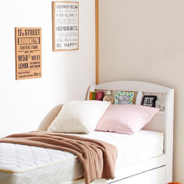大量収納ベッド ポケットコイルマットレス付(ホワイト・ショートシングル)の写真