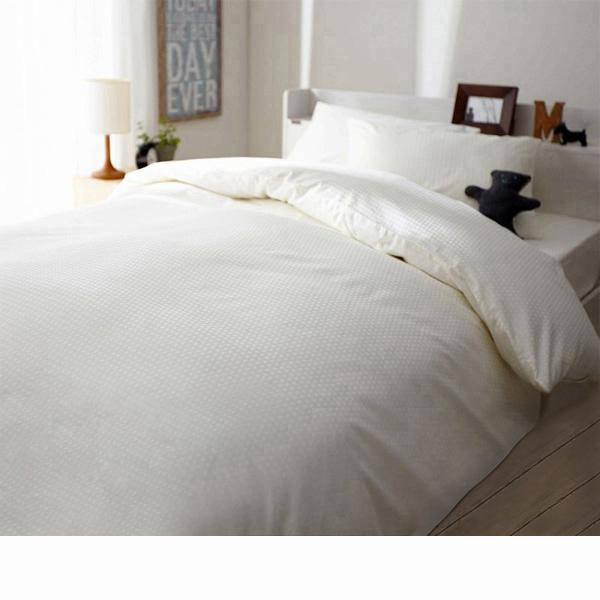 日本製綿100%布団カバー3点セット(アンティークホワイト・掛け布団カバー・ベッドシーツ・枕カバー・セミダブル)の商品画像
