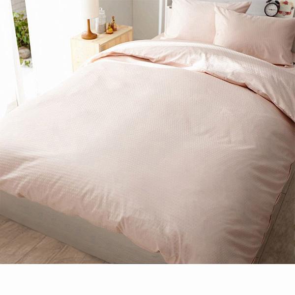 日本製綿100%布団カバー3点セット(シェルピンク・掛け布団カバー・ベッドシーツ・枕カバー・セミダブル)の商品画像