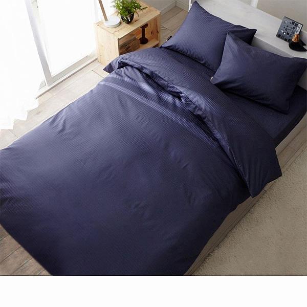 日本製綿100%布団カバー3点セット(スレートブルー・掛け布団カバー・ベッドシーツ・枕カバー・セミダブル)の商品画像