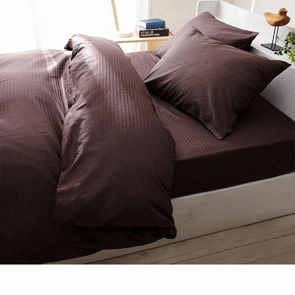 日本製綿100%布団カバー3点セット(ビターブラウン・掛け布団カバー・ベッドシーツ・枕カバー・セミダブル)の商品画像