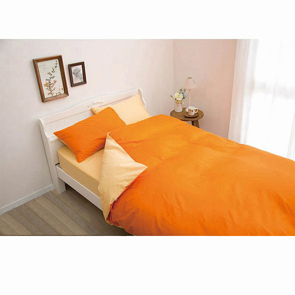 日本製綿100%布団カバー3点セット(オレンジ・掛け布団カバー・ボックスシーツ・枕カバー・シングル)の小イメージ