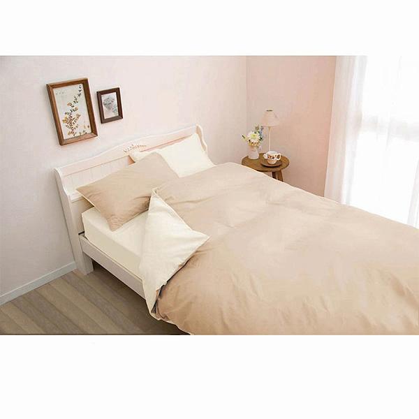 日本製綿100%布団カバー3点セット(ベージュ・掛け布団カバー・ボックスシーツ・枕カバー・シングル)の小イメージ