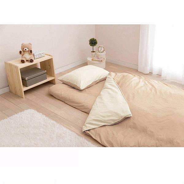 日本製綿100%布団カバー3点セット(ベージュ・掛け布団カバー・敷き布団カバー・枕カバー・シングル)の商品画像