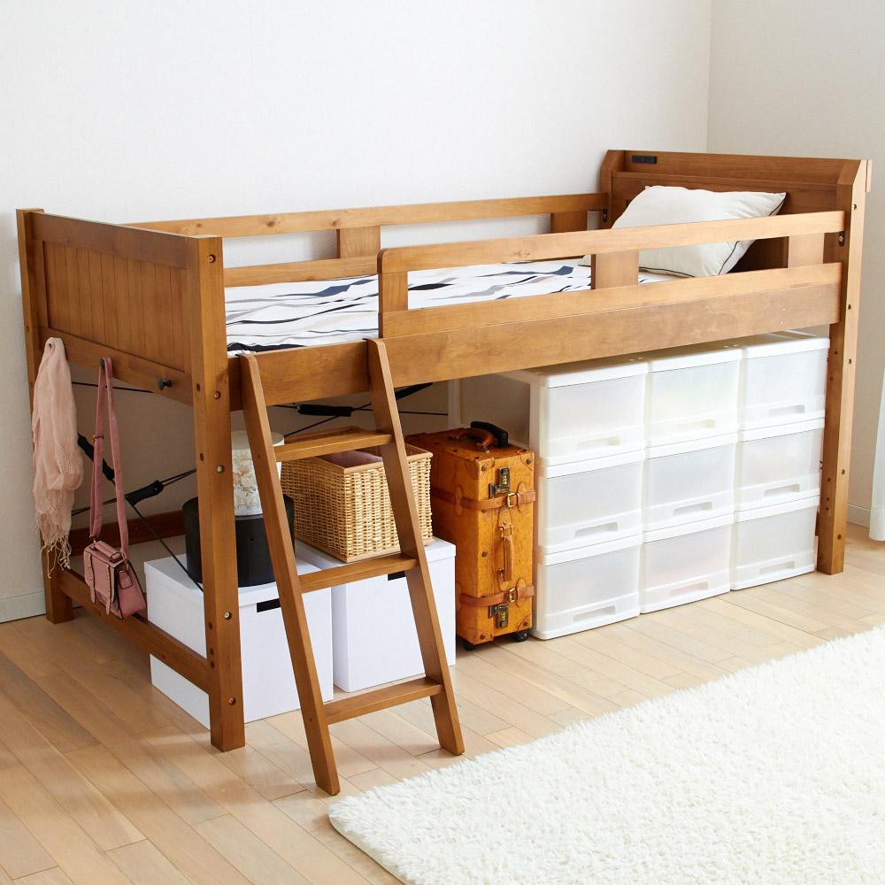 木製ロフトベッド (ハイタイプ) ブラウン