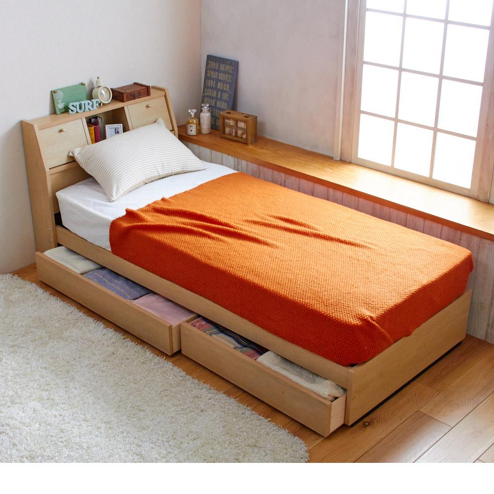 サイズが選べる収納ベッド(ショートセミシングル・ショートシングル・シングル・本体のみ) ナチュラルオークの写真