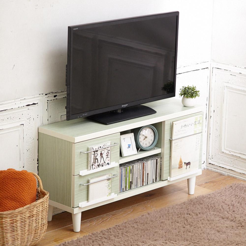 奥行25cmの日本製薄型テレビ台 (幅90cm) アンティークグリーンの商品画像