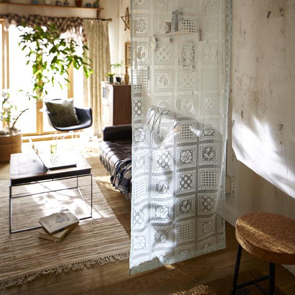 間仕切りパネルレースカーテン(70x250cm、145x150) Cアイボリー 70x250の小イメージ