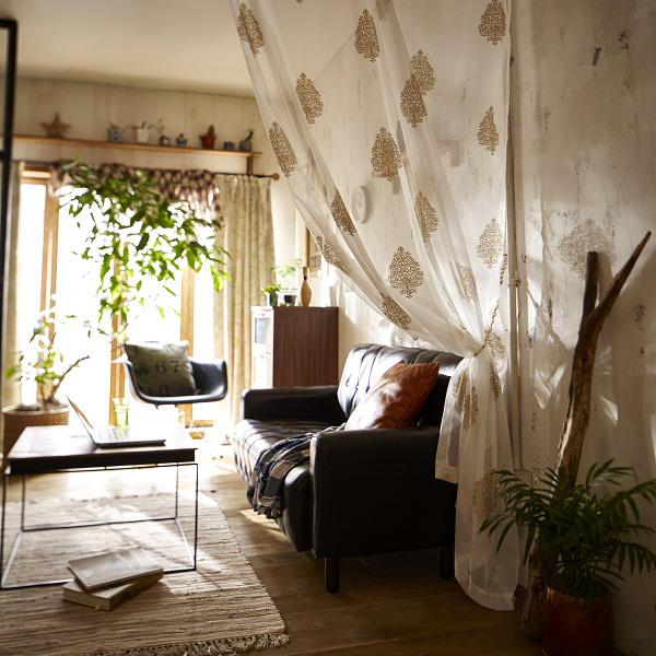 間仕切りパネルレースカーテン(145x250cm) Aホワイトの小イメージ