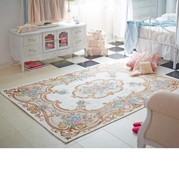 イタリア製肌触りの良いゴブラン織りラグ(200x200) ローズの商品画像