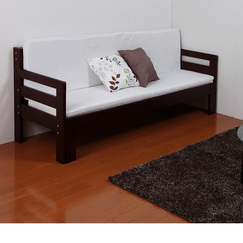 専用マットレス付天然木すのこソファーベッド ナチュラル シングルの写真