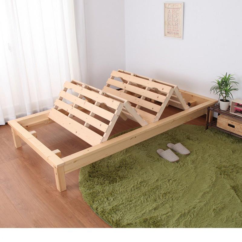 ふとんが干せる天然木すのこベッド ナチュラル シングルの写真