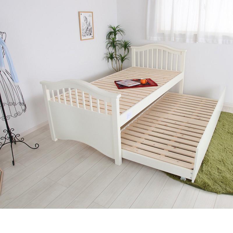 天然木エレガントすのこベッド(二段ベッド)の写真