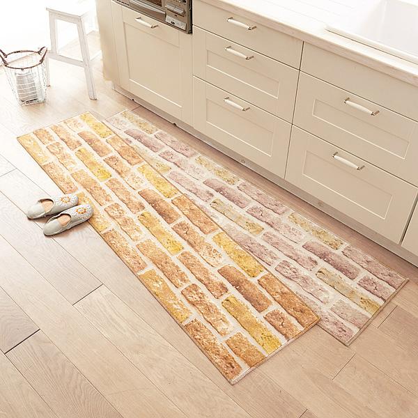 キッチンマット(約45x120cm)/フラフィット(レンガ) ブラウンの商品画像