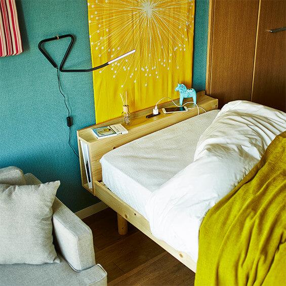 コンセント付すのこベッド(シングル・本体のみ) すのこベッド コンセント付 コンセント付き 高さ調節 ベッド フレームのみ 天然木 無垢材 フレーム シングルの写真
