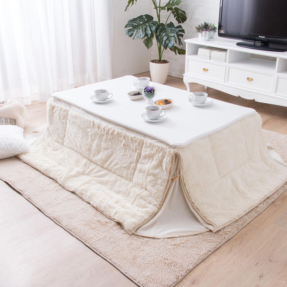 猫脚こたつテーブル こたつ布団セット (120x75cm) ピンクの写真