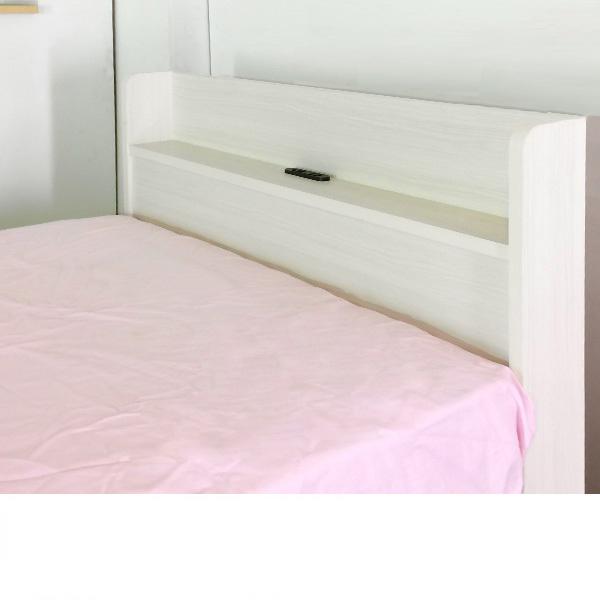 日本製 組立が簡単なベッド(ダブル・マットレス付) クラッシックホワイトと題した写真