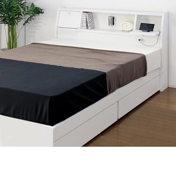日本製 照明付収納ベッド(セミダブル・マットレス付) ナチュラルの写真