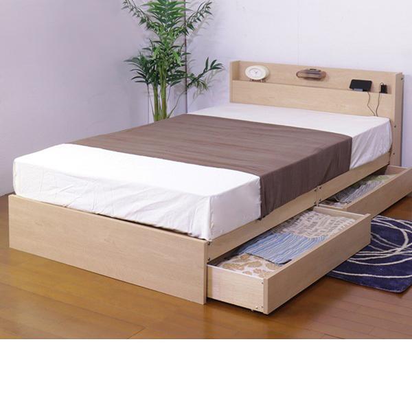 日本製 照明付 収納ベッド (シングル・マットレス付) ナチュラルの写真