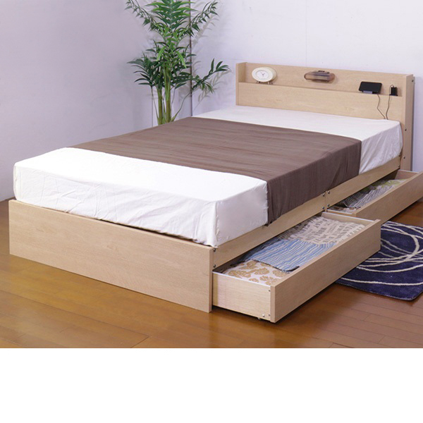 日本製 照明付 収納ベッド (セミダブル・フレームのみ) ウォールナットの写真